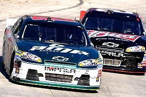 Dale Earnhardt Jr. had the lead with five laps to go at Martinsville, but couldn't hold off Kevin Harvick
