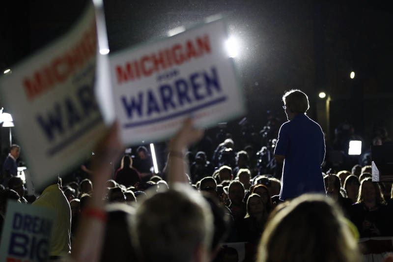Sen. Elizabeth Warren, D-Mass., speaks during a primary election night rally on March 3, 2020, at Eastern Market in Detroit. (Patrick Semansky/AP)