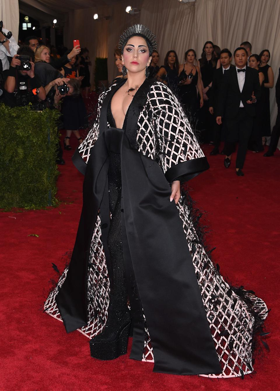 """Gaga walks the red carpet at the 2015 Met Gala celebrating the opening of the """"China: Through The Looking Glass"""" exhibit at the Metropolitan Museum's Costume Institute on May 4, 2015."""