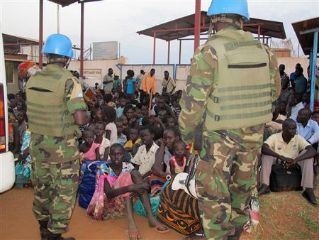 Civilians takes shelter at the United Nations Mission in the Republic of South Sudan compound on the outskirts of the capital Juba in South Sudan