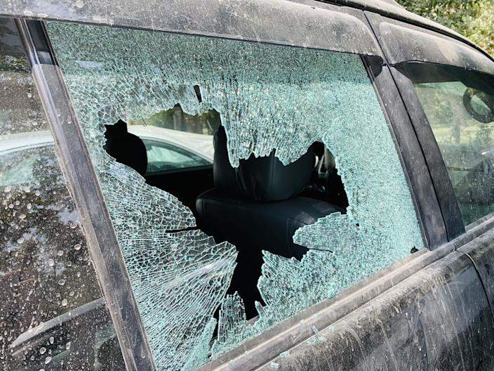 A damaged car after a rocket attack earlier this month in Kabul. (Haroon Sabawoon/Anadolu Agency via Getty Images)