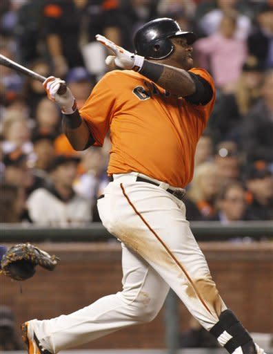San Francisco Giants' Pablo Sandoval hits an RBI double against the Atlanta Braves during the third inning of a baseball game in San Francisco, Friday, Aug. 24, 2012. (AP Photo/George Nikitin)