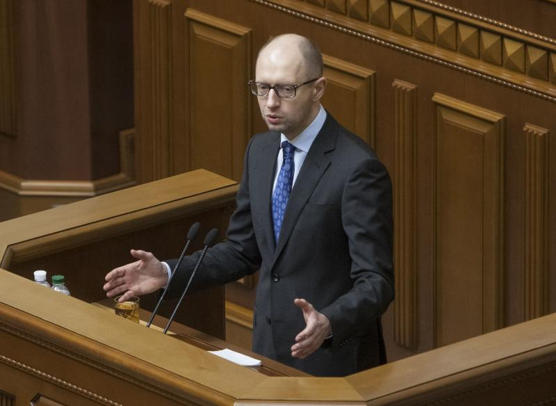 Ukrainian PM Yatseniuk addresses parliament in Kiev