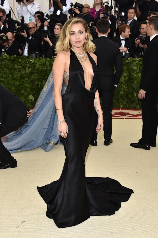 <p>Cyrus was a fan favorite, wearing a gorgeously sleek dress by Stella McCartney. (Photo: Getty Images) </p>