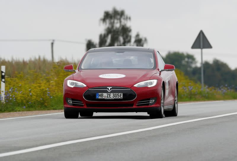 FILE PHOTO: Tesla Model S drives during electric car E-Rallye Baltica 2019 in Latvia
