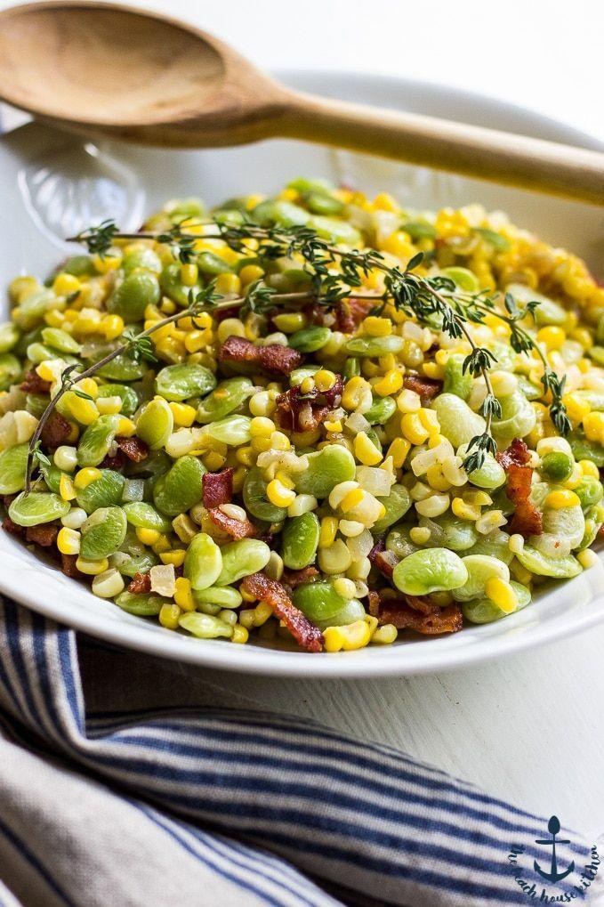 """<p>This classic Southern cookout side is loaded with fresh corn, lima beans, sweet onion, and crispy bacon. </p><p><a href=""""https://thebeachhousekitchen.com/end-of-summer-succotash/"""" rel=""""nofollow noopener"""" target=""""_blank"""" data-ylk=""""slk:Get the recipe."""" class=""""link rapid-noclick-resp"""">Get the recipe. </a></p>"""