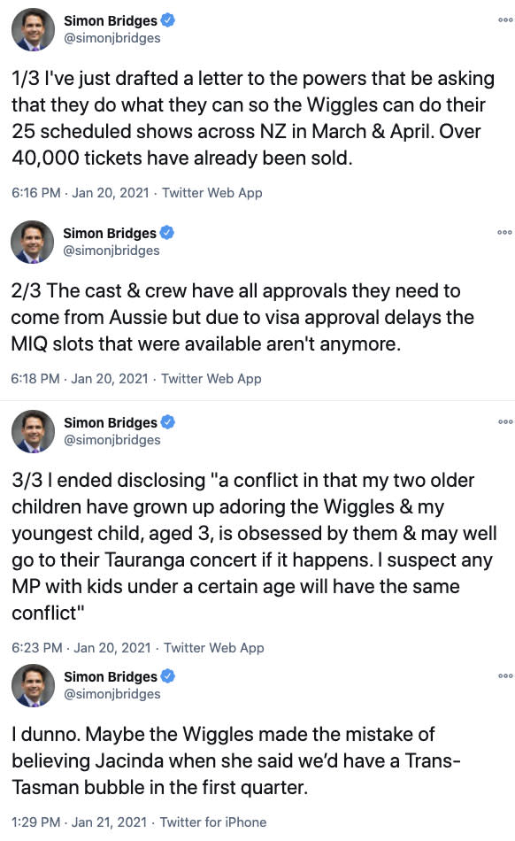 """Simon Bridges, MP for Tauranga, who was one of the MPs approached, took to Twitter to share he had """"drafted a letter to the powers that be asking that they do what they can"""" to allow the entertainers into the country for their March and April shows, despite the fact they don't have MIQ spots. Photo: Twitter"""