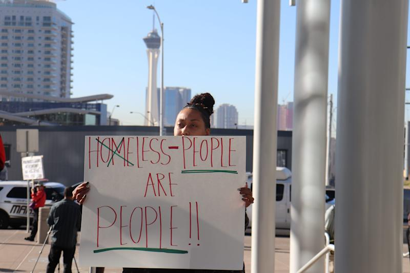 Protesters flooded Las Vegas City Hall Wednesday to oppose a new ordinance that would criminalize sleeping on Las Vegas sidewalks.