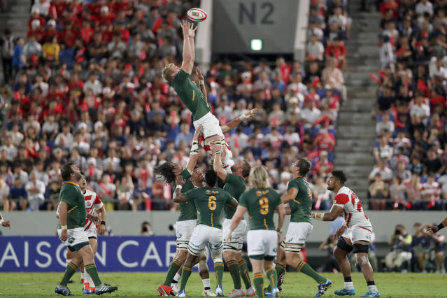 South Africa's Pieter-Steph du Toit grabs the ball during a line out against Japan for a rugby match at Kumagaya Rugby Stadium Friday, Sept. 6, 2019, in Saitama, Japan. (AP Photo/Shuji Kajiyama)