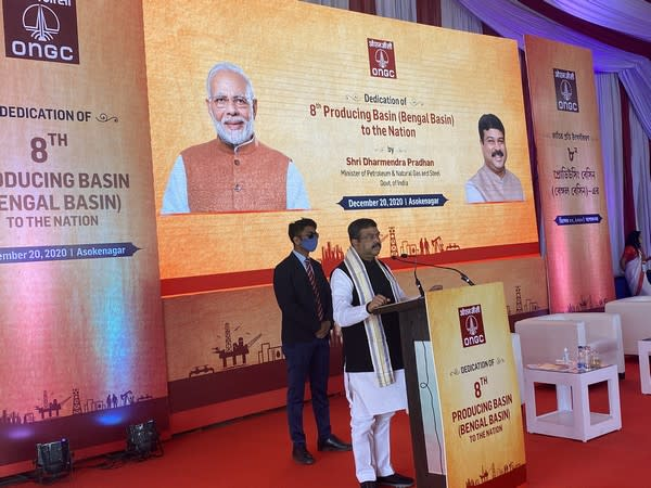 Union minister Dharmendra Pradhan addresses the launch event of Bengal Basin on Sunday. (Photo source: Twitter)