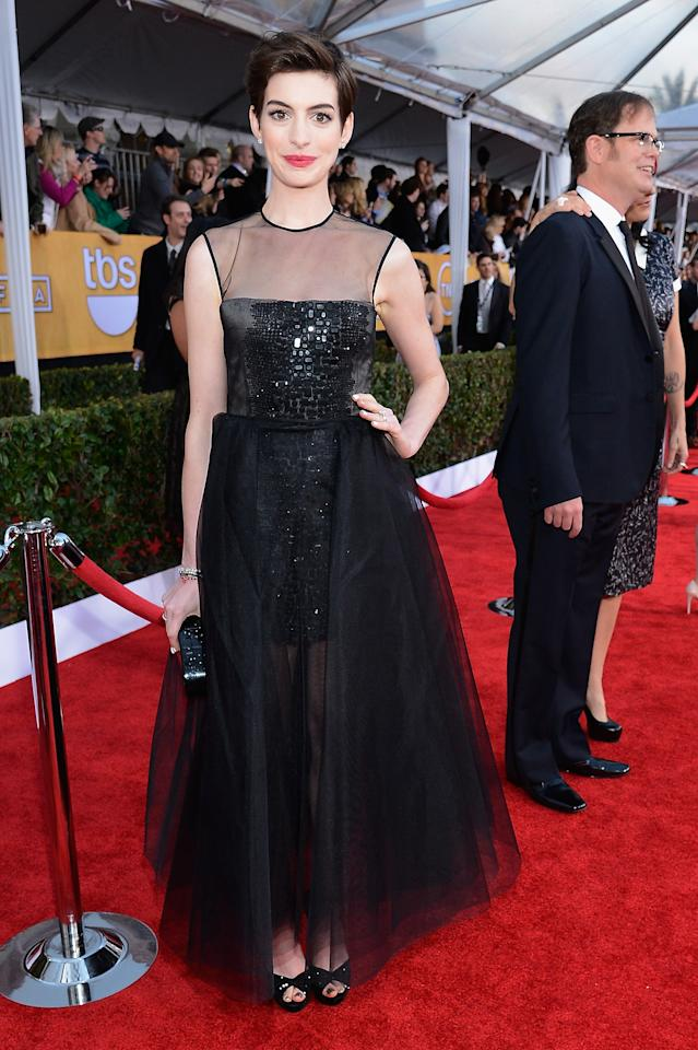 LOS ANGELES, CA - JANUARY 27:  Actor Anne Hathaway arrives at the 19th Annual Screen Actors Guild Awards held at The Shrine Auditorium on January 27, 2013 in Los Angeles, California.  (Photo by Kevork Djansezian/Getty Images)