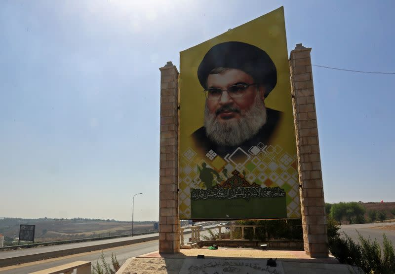 A picture of Lebanon's Hezbollah leader Sayyed Hassan Nasrallah is seen along a highway near Tyre
