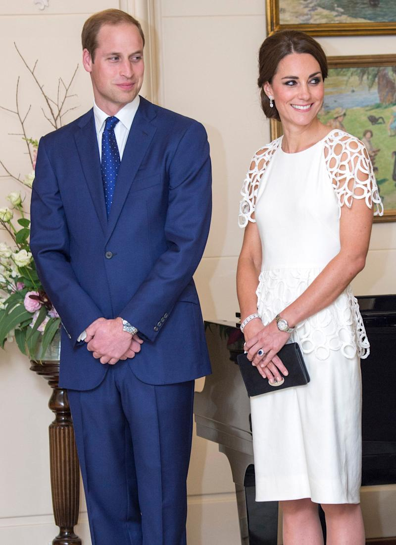 The Duchess donned a lovely white cocktail dress by American designer Leila Rose at a reception in Canberra, Australia on April 24, 2014.