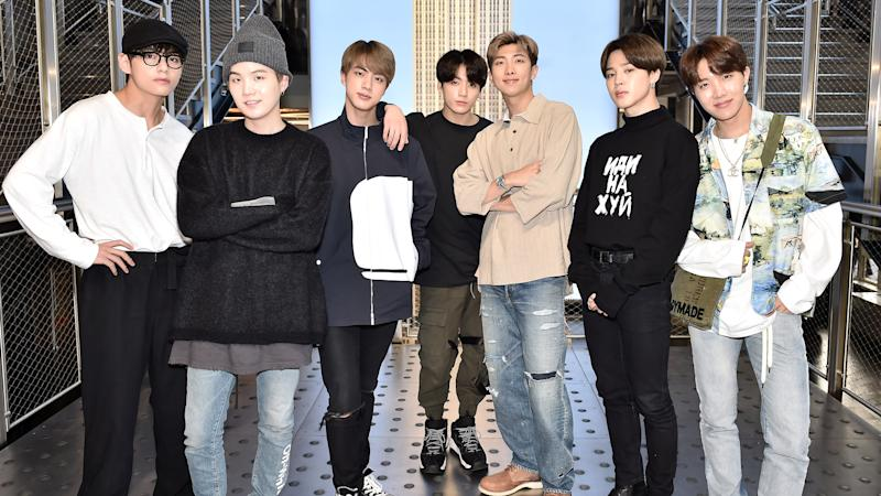 NEW YORK, NY - MAY 21: (EXCLUSIVE COVERAGE) V, Suga, Jin, Jungkook, RM, Jimin, and J-Hope of the K-Pop Group BTS visit The Empire State Building on May 21, 2019 in New York City. (Photo by Steven Ferdman/Getty Images for ESB)