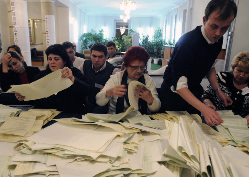Ukraine's ruling party leads in vote called biased