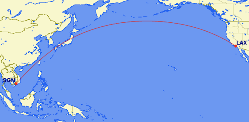 Missing link: the 8,169-mile route between Los Angeles (LAX) and Ho Chi Minh City (SGN): Great Circle Mapper