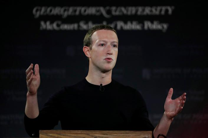 """Facebook Chairman and CEO Mark Zuckerberg addresses the audience on """"the challenges of protecting free speech while combating hate speech online, fighting misinformation, and political data privacy and security,"""" October 17, 2019. REUTERS/Carlos Jasso"""