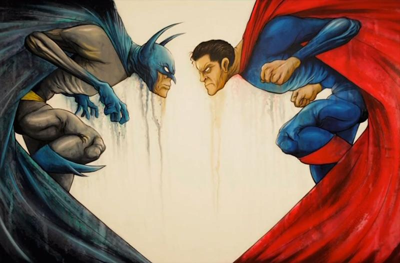 """Batman vs. Superman"" art by Alex Pardee"