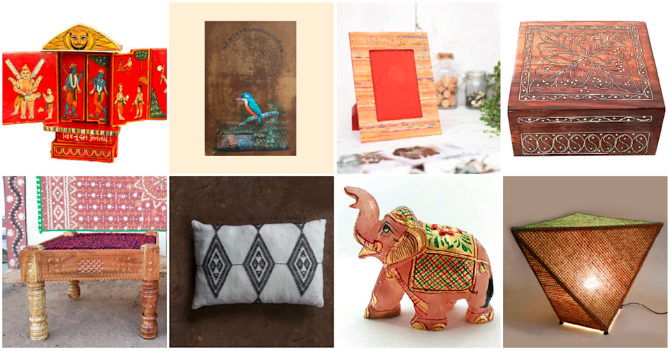 "Home decor gifting ideas, handcrafted by Indian artisans, retailed via the <a href=""http://creativedignity.org/"" rel=""nofollow noopener"" target=""_blank"" data-ylk=""slk:Artisans Direct"" class=""link rapid-noclick-resp"">Artisans Direct</a> initiative"