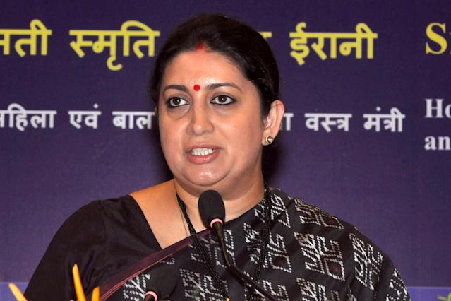 Union Minister of Textiles and Women & Child Development, Smriti Zubin Irani during a press conference on 100 days of NDA led Central Government. (Photo by Saikat Paul/Pacific Press) (Photo credit should read Saikat Paul / Barcroft Media via Getty Images)