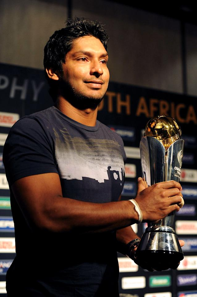 SANDTON, SOUTH AFRICA - SEPTEMBER 17:  Sri Lanka captain Kumar Sangakkara holds the ICC Champions trophy during the ICC Champions Trophy captains' press conference at the Sandton Sun on September 17, 2009 in Sandton, South Africa.  (Photo by Lefty Shivambu/Gallo Images/Getty Images)