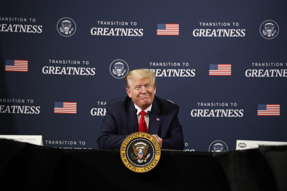 President Donald Trump speaks during a listening session with African-American leaders at Ford's Rawsonville Components Plant that has been converted to making personal protection and medical equipment, Thursday, May 21, 2020, in Ypsilanti, Mich. (AP Photo/Alex Brandon)