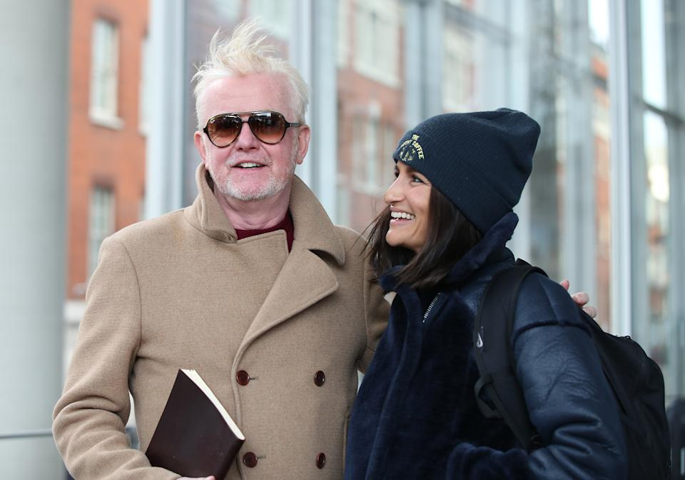 Chris Evans leaves the Virgin Radio studios in south London, with his wife Natasha, after his first breakfast show on the station. (Photo by Yui Mok/PA Images via Getty Images)
