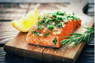 """<p>""""<a href=""""https://www.prevention.com/food-nutrition/a20500698/salmon-recipes-anti-inflammatory-diet/"""" rel=""""nofollow noopener"""" target=""""_blank"""" data-ylk=""""slk:Salmon"""" class=""""link rapid-noclick-resp"""">Salmon</a> is one of the best sources of omega-3 fatty acids, which are a heart-healthy form of fat that can boost your metabolism to increase the number of calories that your body burns throughout the day,"""" says Dr. Axe. """"Besides supplying a hearty dose of omega-3 fatty acids, salmon is also loaded with other important nutrients that play a central role in weight loss, such as protein."""" For ideas on how to make delicious salmon at home, check out <a href=""""https://www.prevention.com/food-nutrition/g20465439/salmon-recipes/"""" rel=""""nofollow noopener"""" target=""""_blank"""" data-ylk=""""slk:these recipes"""" class=""""link rapid-noclick-resp"""">these recipes</a>.</p>"""
