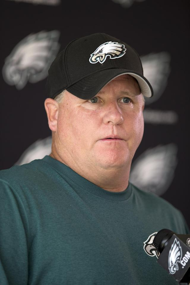Philadelphia Eagles head coach Chip Kelly speaks at NFL football minicamp, Wednesday, June 18, 2014, in Philadelphia. (AP Photo/Matt Rourke)