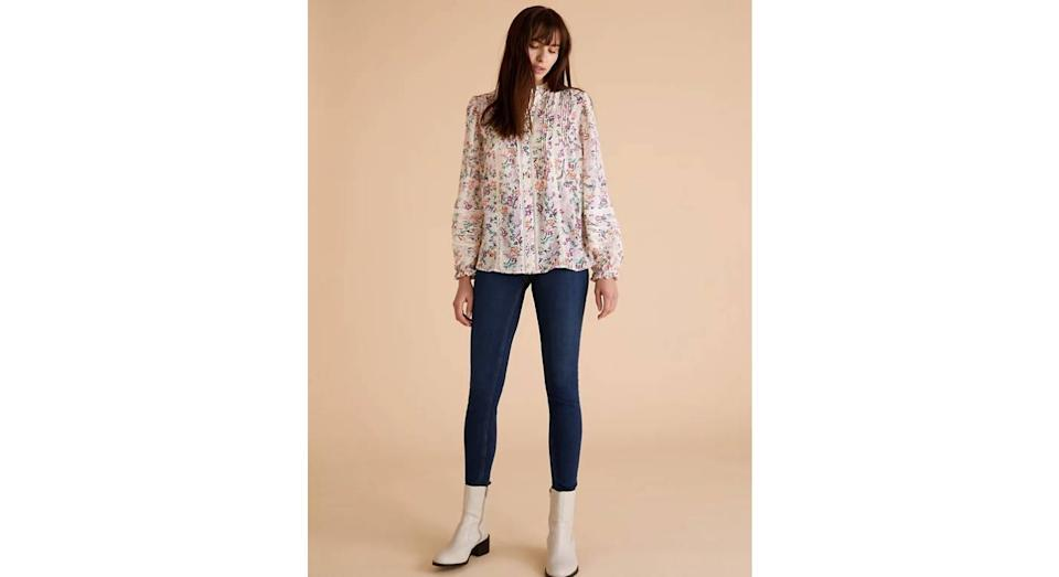 Floral High Neck Lace Insert Blouse. (Marks & Spencer)