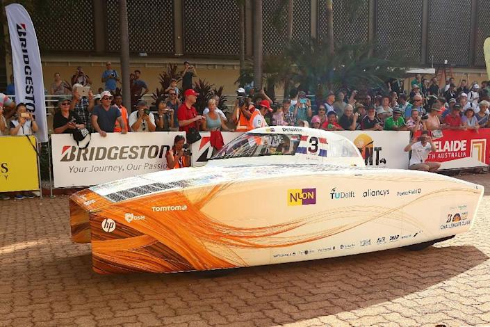 Crews are allowed to drive between 8am and 5pm each day and simply set up camp wherever their car pulls off the road at the end of the day. The first car to cross the line in Adelaide is the winner. (AFP Photo/Scott Barbour)