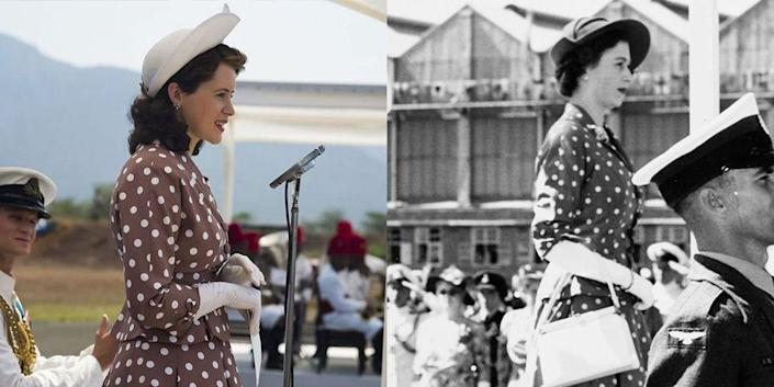 <p>Queen Elizabeth's solo tour of Kenya was a huge milestone for the young royal. For her arrival in Nairobi, Elizabeth wore a brown polka dot dress with a peplum waist. The show recreated the look exactly, down to the white handbag she carried. </p>