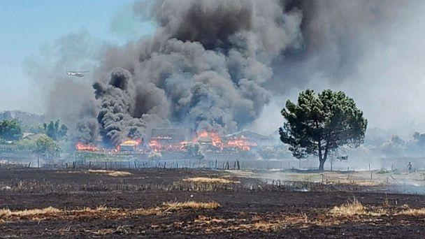 PHOTO: In this photo provided by the California Department of Forestry and Fire Prevention, the Nelson Fire burns Wednesday, June 17, 2020, near Oroville, Calif. (California Department of Forestry and Fire Prevention via AP)
