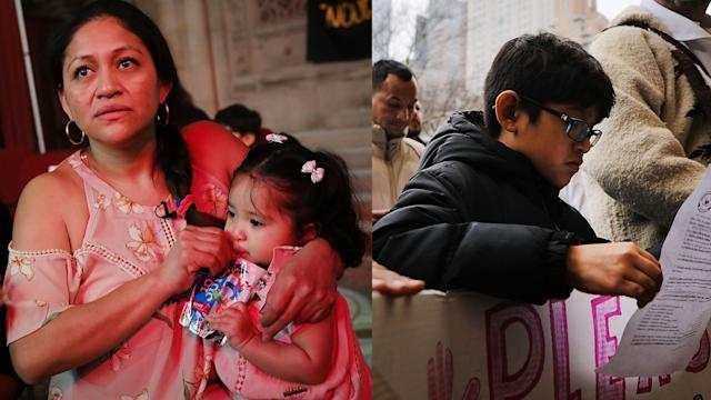 Undocumented immigrant mother Aura Hernández with her daughter inside the church offering sanctuary (left), and Hernández's 10-year old son at a vigil for his mother (right). (Photos: Spencer Platt/Getty Images)