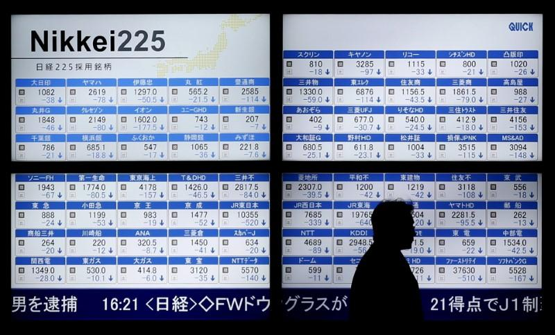 Man walks past an electronic board showing Japan's Nikkei 225 outside a brokerage in Tokyo