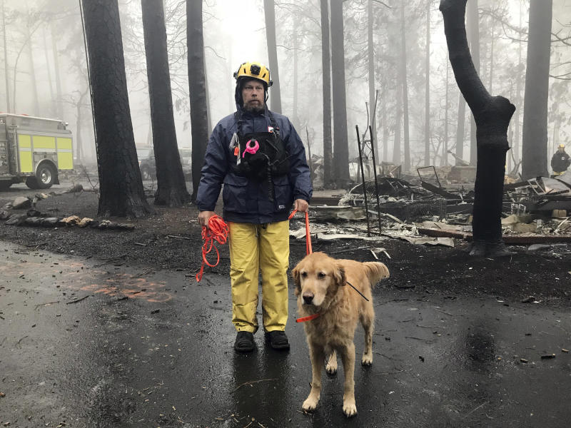 Eric Darling and his dog are part of a search team from Orange County, California. Theirs is one of several teams conducting a second search of a mobile home park after the deadly Camp fire in Paradise. (ASSOCIATED PRESS)