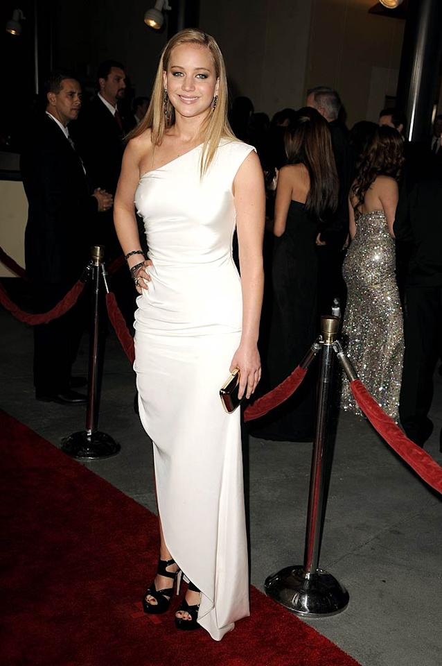 """Also spotted sporting the stylish shade ... Oscar nominee Jennifer Lawrence (""""Winter's Bone""""), who attended the 63rd Annual Directors Guild of America Awards in a gorgeous Prabal Gurung gown, contrasting Miu Miu heels, and Lorraine Schwartz jewels. Steve Granitz/<a href=""""http://www.wireimage.com"""" target=""""new"""">WireImage.com</a> - January 29, 2011"""
