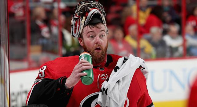 Carolina Hurricanes netminder Scott Darling allowed one of the worst goals you'll ever. (Getty Images)