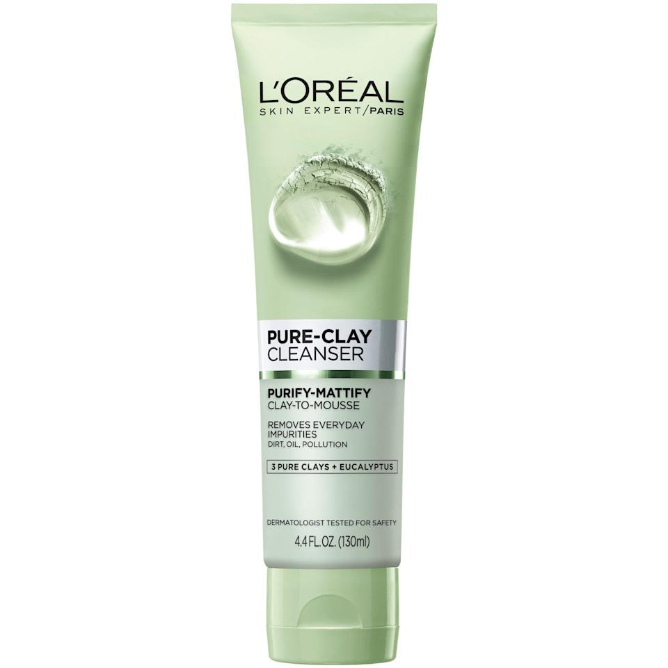The L'Oréal Paris Pure-Clay Cleanser is made with three different types of clay (kaolin, Moroccan lava, and montmorillonite) to mattify — and cleanse, of course — without drying out the skin. Once you add water, the product quickly transforms from a clay to a mousse texture. Plus, the cleanser is infused with eucalyptus for a soothing experience.