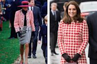 Princess Diana wearing Moschino in 1990; Kate Middleton wearing Catherine Walker in 2018