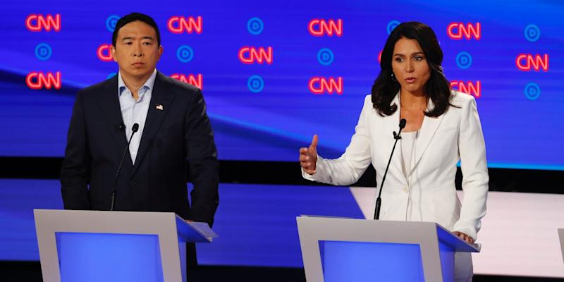 Andrew Yang, Rep. and Tulsi Gabbard, D-Hawaii participate in the second of two Democratic presidential primary debates hosted by CNN, July 31, 2019.