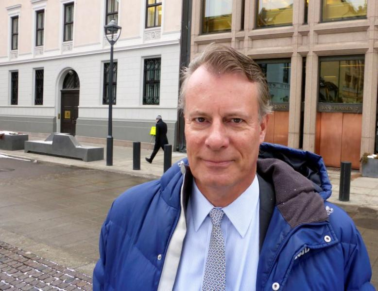 Johan H. Andresen, a Norwegian investor and the chair of the ethics watchdog for NorwayÕs sovereign wealth fund, poses for a picture in front of the Norwegian central bank in Oslo