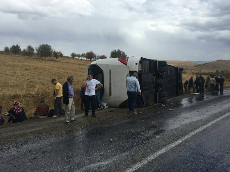 The bus crash took place at Afyonkarahisar, causing one death while 10 more people were injured. — Picture via Facebook