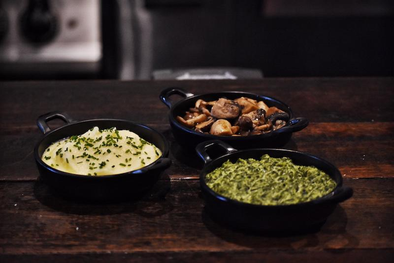 Mushroom, potato, and spinach sides. Photo: The Feather Blade