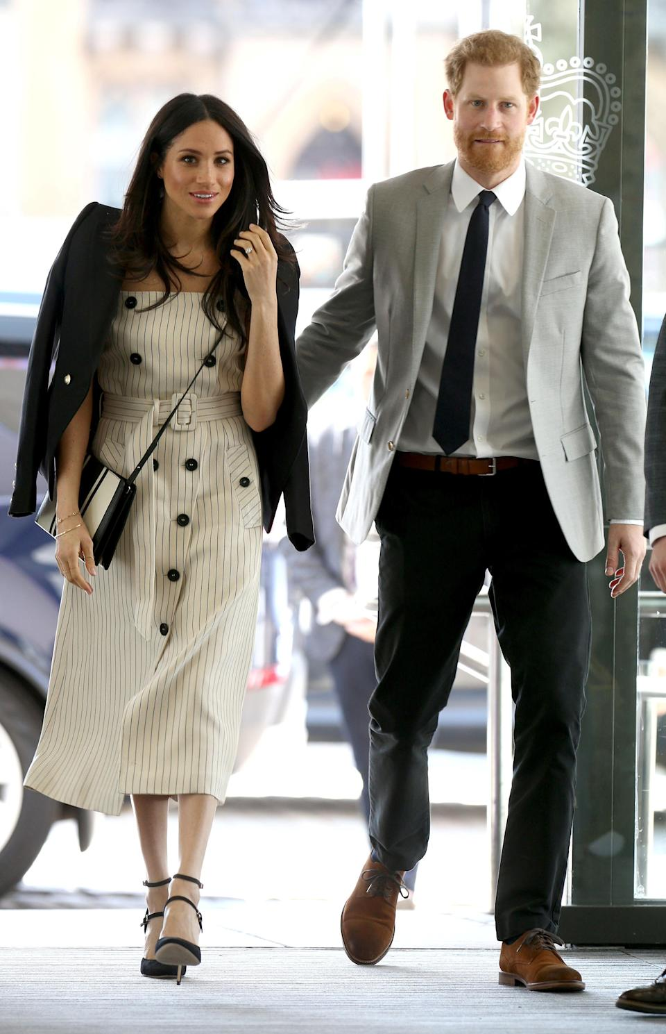 <p>Markle accompanied her fiancé, Prince Harry, as he began his new role as Commonwealth Youth Ambassador. </p>
