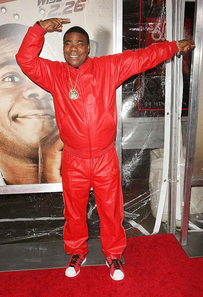"""We didn't necessarily expect to see Tracy Morgan in a tux at the premiere of his new film, """"Cop Out,"""" but we certainly didn't expect to see him in this '80s-inspired red leather tracksuit. Jim Spellman/<a href=""""http://www.wireimage.com"""" target=""""new"""">WireImage.com</a> - February 22, 2010"""