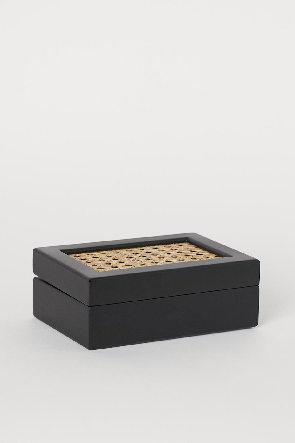 <p>The materials of this <span>H&amp;M Box With Rattan</span> ($40) feel particularly fall-friendly, yet the color combination is one that'll work year-round. They can use it to store rings, or place it on the entryway bench as storage for keys.</p>