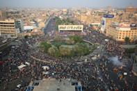 Iraqi demonstrators at Tahrir Square in Baghdad, the epicentre of the protests