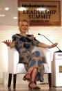 Nicole gave a spirited speech at a leadership summit in this printed frock and flat sandal combination.