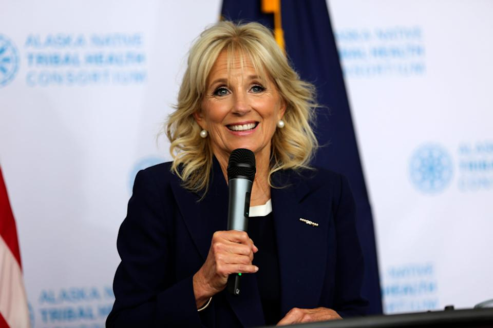 First lady Jill Biden stopped to visit the Alaska Native Health Tribal Health Consortium office in Anchorage on July 21, 2021, on her way to Tokyo leading the U.S. delegation to the Olympic Games.